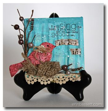 Erin Bassett - Bird Canvas - Mod Podge - Unity Stamp Co