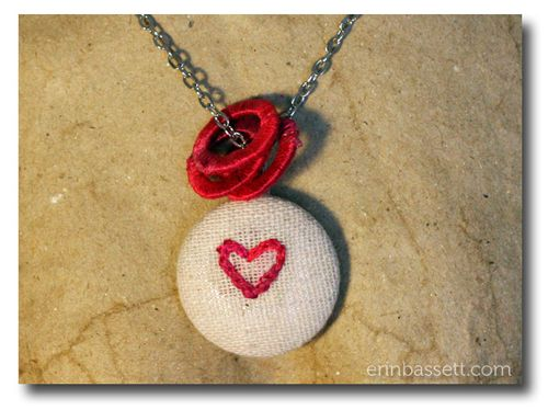 Blog - Erin Bassett - Imaginisce Magnetic Necklace - Embroidered Heart - CloseUp