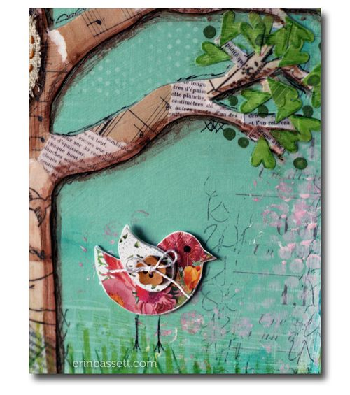 BLOG Erin Bassett - BB - Pink Paislee - Birds Mixed Media Canvas