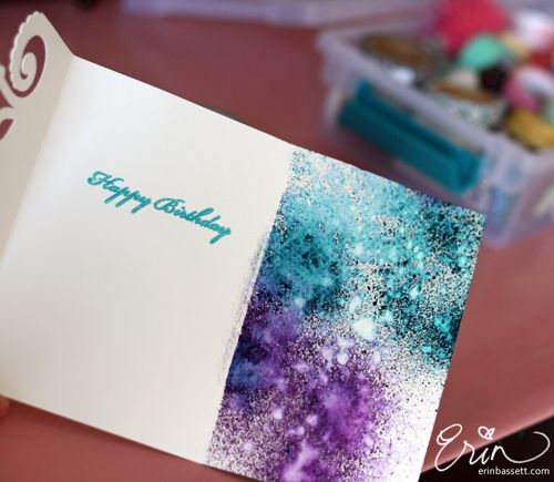 Silhouette Cameo Spray Ink Birthday Card