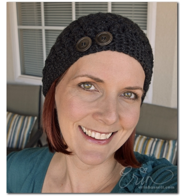 Erin Bassett - In Bloom Baret Hat Cap Crochet with Buttons