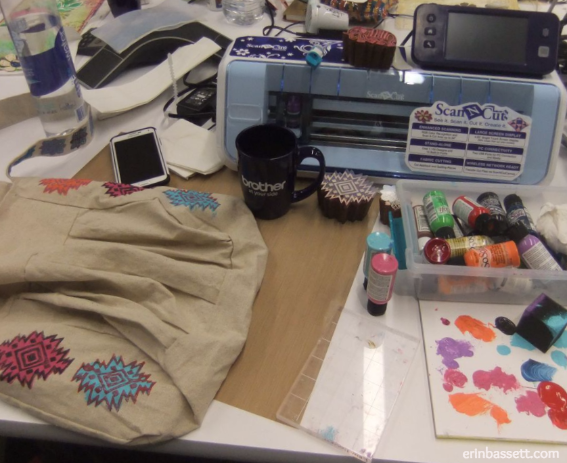 Messy craft desk