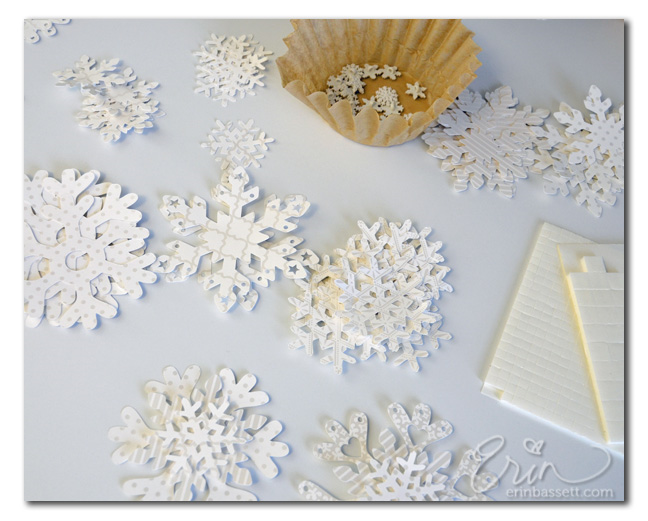 paper snowflakes and buttons