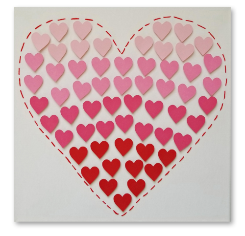 Valentine's Day Die Cut Heart Canvas