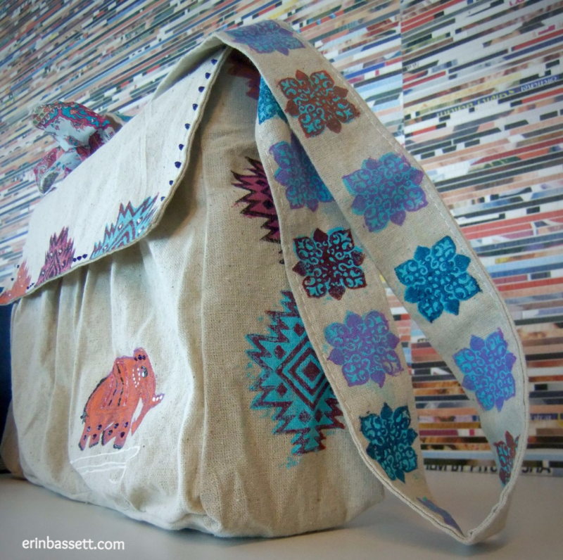 DIY Bag using ScanNCut stamp kit + Fabric Creations Block Printing Stamps